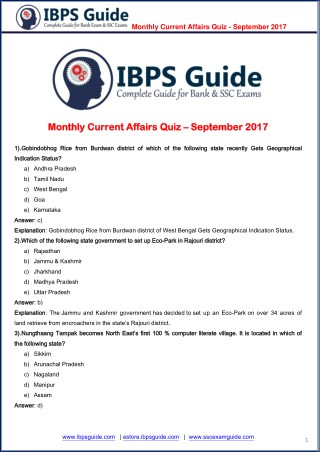 Monthly Current Affairs Quiz - September