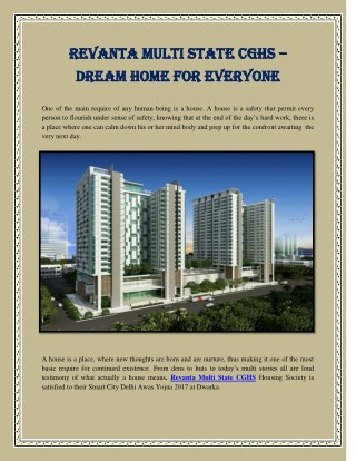 Revanta Multi State CGHS – Dream Home For Everyone