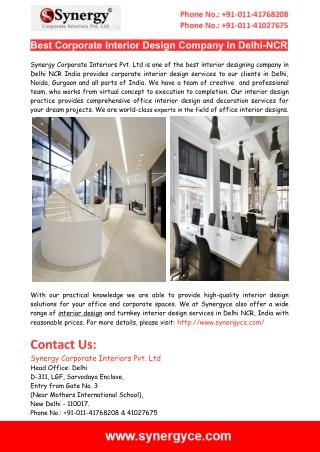 Top Corporate Office Interior Designers In Delhi