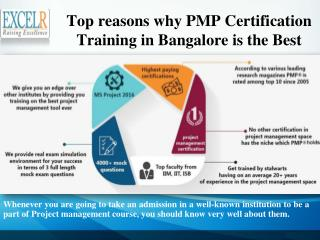 Top reasons why PMP Certification Training in Bangalore is the Best
