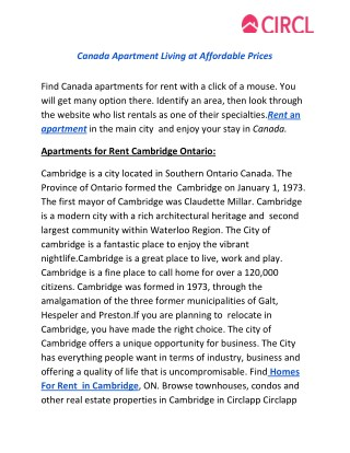 Canada Apartment Living at Affordable Prices