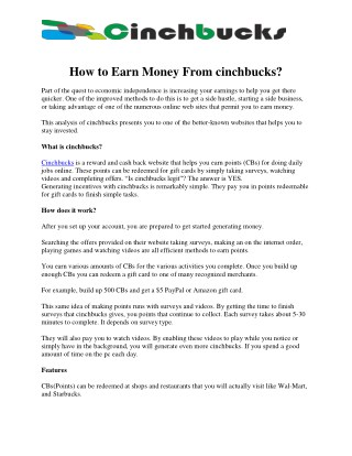How To Earn Money From cinchbucks ?