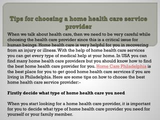 Tips for Choosing a home health care service provider