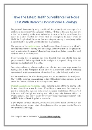 Have The Latest Health Surveillance For Noise Test With Darroch Occupational Audiology