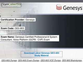 Download Examcollection GE0-803 Dumps