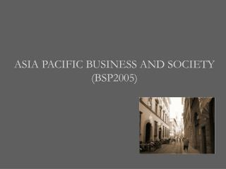 ASIA PACIFIC BUSINESS AND SOCIETY (BSP2005)