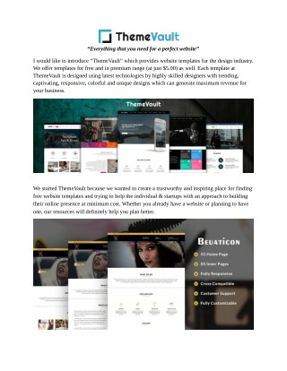 Free HTML5 Responsive Website Templates - ThemeVault