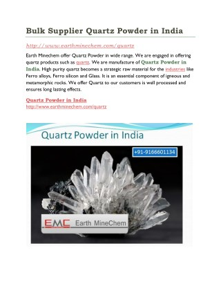 Bulk Supplier Quartz Powder in India