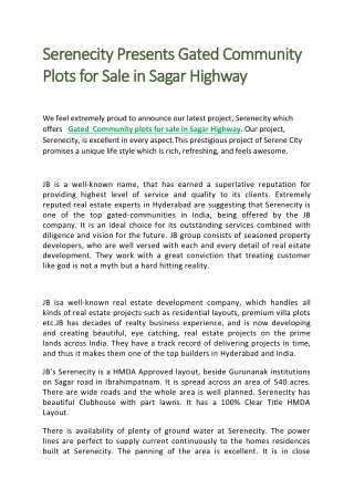 Gated Community Plots for Sale in Sagar Highway
