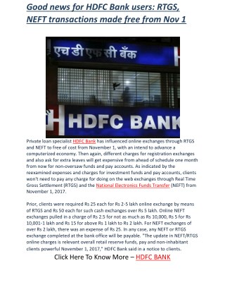 Good news for HDFC Bank users: RTGS, NEFT transactions made free from Nov 1 | Business Standard News