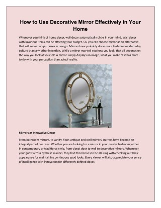 How to Use Decorative Mirror Effectively in Your Home