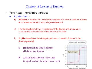 Chapter 16 Lecture 2 Titrations