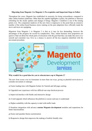 Migrating from Magento 1 to Magento 2- Pre-requisites and Important Steps to Follow