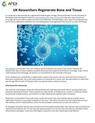 UK Researchers Regenerate Bone and Tissue