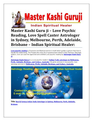 Master Kashi Guru ji – Love Psychic Reading, Love Spell Caster Astrologer in Sydney, Melbourne, Perth, Adelaide, Brisban