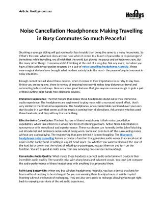 Noise Cancellation Headphones in Australia: Making Travelling in Busy Commutes So much Peaceful