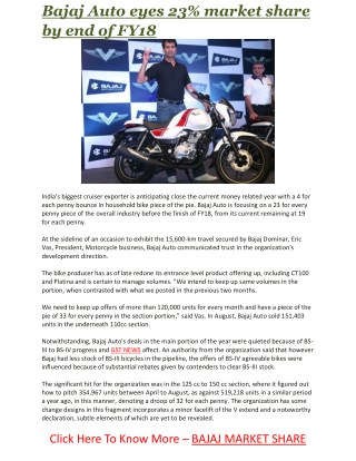 Bajaj Auto eyes 23% market share by end of FY18   Business Standard News