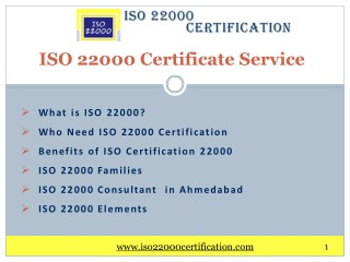 ISO 22000 Certificate Services in Ahmedabad, India