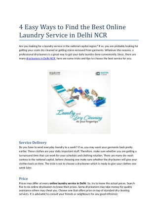 4 Easy Ways to Find the Best Online Laundry Service in Delhi NCR