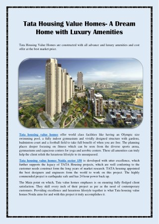 Tata Housing Value Homes- A Dream Home with Luxury Amenities