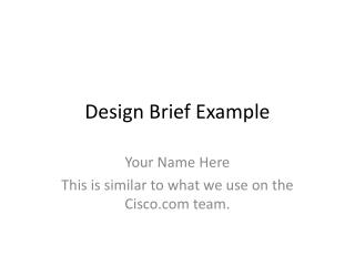 Design Brief Example