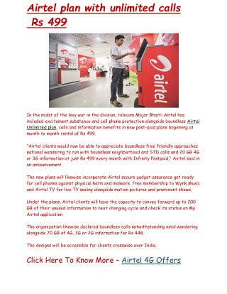 Airtel launches Rs 499 plan with unlimited calls   Business Standard News