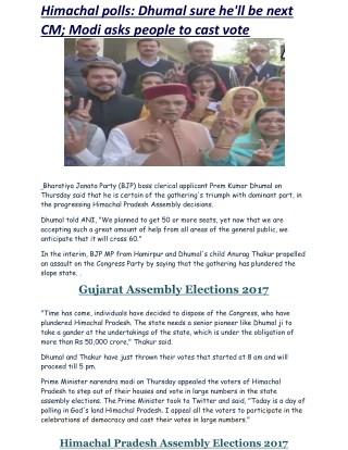 Himachal polls: Dhumal sure he'll be next CM; Modi asks people to cast vote   Business Standard News