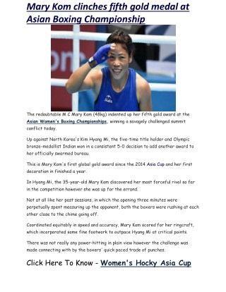 Mary Kom clinches fifth gold medal at Asian Boxing Championship   Business Standard News