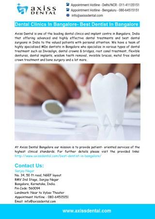 Dental Clinics In Bangalore- Best Dentist In Bangalore