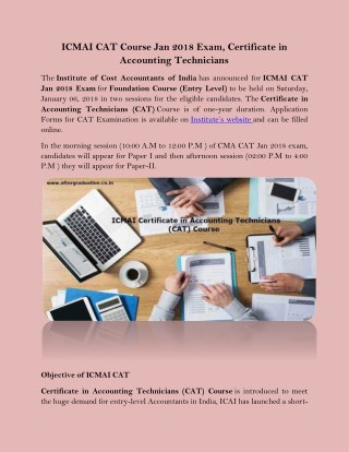 ICMAI CAT Course Jan 2018 Exam, Certificate in Accounting Technicians