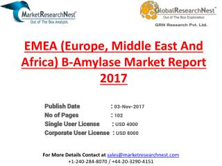 EMEA (Europe, Middle East And Africa) ?-Amylase Market Size, Status, Top Players, Trends and Forecast 2022
