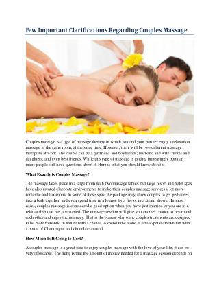 Few Important Clarifications Regarding Couples Massage