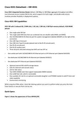PPT - Cisco 4331 Datasheet – ISR 4331 PowerPoint Presentation - ID
