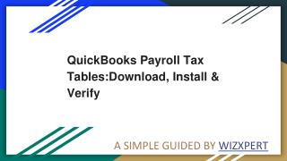 QuickBooks Payroll Tax Tables:Download, Install & Verify