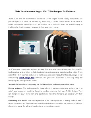 Ppt Make Your Customers Happy With T Shirt Designer Tool Software Powerpoint Presentation Id 7739090