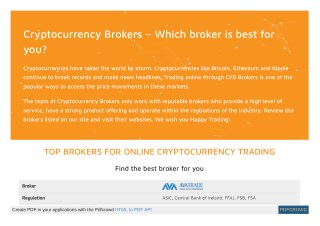 Find the best broker for you Cryptocurrency Brokers