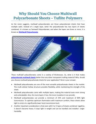 Why Should You Choose Multiwall Polycarbonate Sheets - Tuflite Polymers
