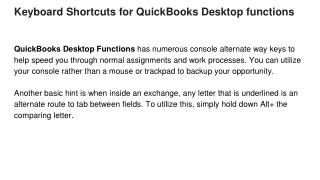 Keyboard Shortcuts for QuickBooks Desktop functions