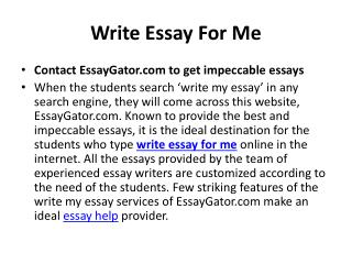 Contact EssayGator.com to get help with Write My Essay