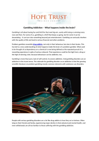 Gambling Addiction – What happens inside the brain?