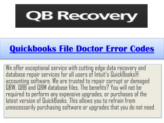 Quickbooks File Doctor Error Codes