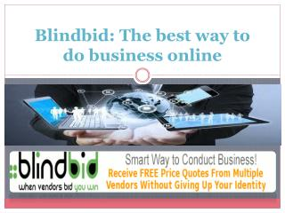 A professional network for small business ?Blindbid