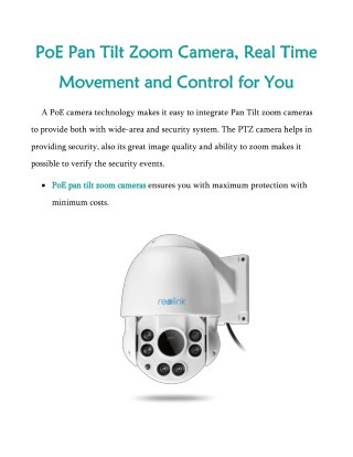 PoE Pan Tilt Zoom Camera, Real Time Movement and Control For You