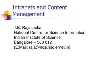 Intranets and Content Management