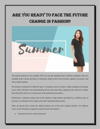Are You Ready to face the future change in fashion