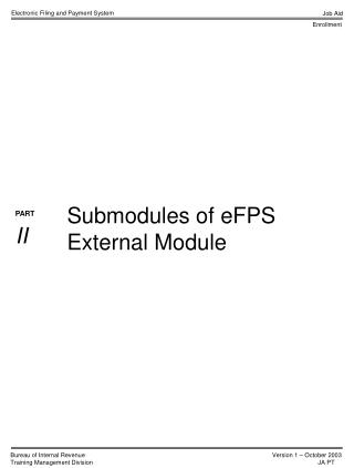Submodules of eFPS External Module