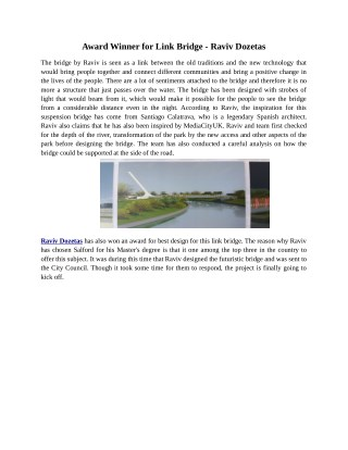 Award Winner for Link Bridge - Raviv Dozetas