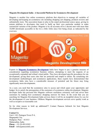 Magento Development India– A Successful Platform for Ecommerce Development