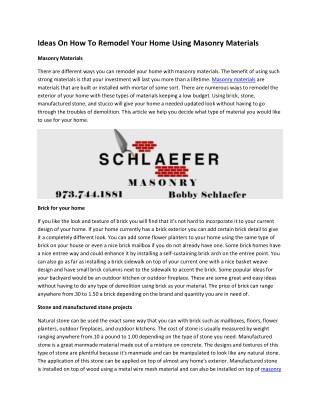 Schlaefer Masonry Contractor Serving Montclair NJ   Upper Montclair NJ   Glen Ridge NJ   West Orange NJ   Bloomfield NJ