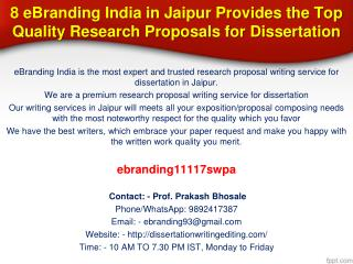 8 eBranding India in Jaipur Provides the Top Quality Research Proposals for Dissertation